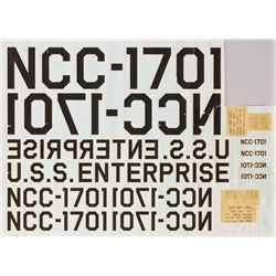 VINTAGE U.S.S. ENTERPRISE NCC-1701 DECALS FOR FILMING MODELS FROM STAR TREK: THE ORIGINAL SERIES