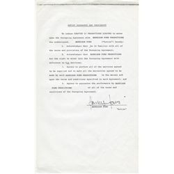 STAR WARS: THE EMPIRE STRIKES BACK EMPLOYMENT CONTRACT SIGNATURE PAGE SIGNED BY HARRISON FORD