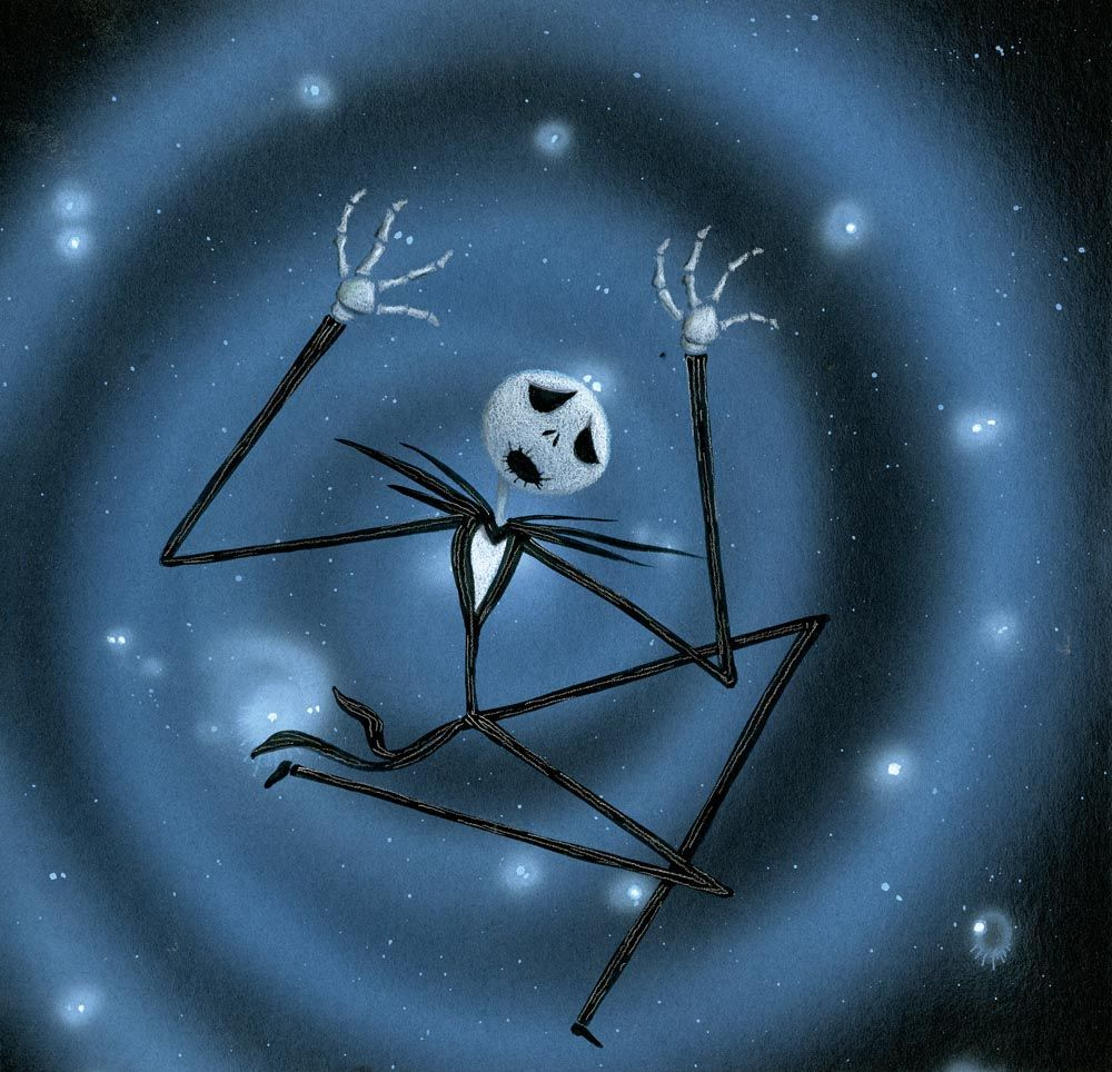 "ORIG CONCEPT ART OF ""JACK SKELLINGTON"" FALLING THROUGH SNOWFLAKES IN ..."