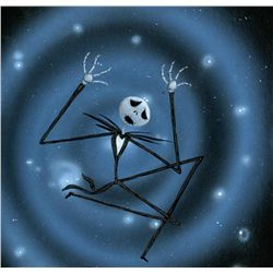 "ORIG CONCEPT ART OF ""JACK SKELLINGTON"" FALLING THROUGH SNOWFLAKES IN THE NIGHTMARE BEFORE CHRISTMAS"