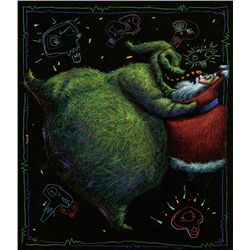 "CONCEPT ART OF ""OOGIE BOOGIE"" AND ""SANTA"" IN THE NIGHTMARE BEFORE CHRISTMAS"