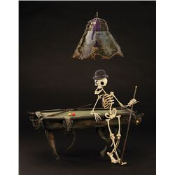 "THE CORPSE BRIDE ""BONEJANGLES"" HERO ANIMATION PUPPET WITH BILLIARDS TABLE AND HANGING LAMP"