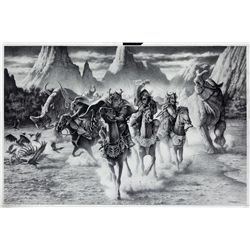 ORIGINAL CONCEPT ARTWORK OF GORILLAS ON HORSEBACK FROM PLANET OF THE APES