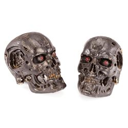 PAIR OF T-700 ENDO SKULLS FROM FACTORY ASSEMBLY SCENE IN TERMINATOR 4: SALVATION