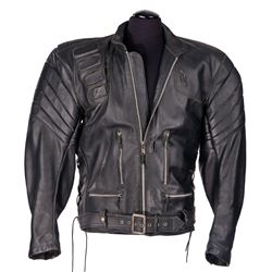 SCREEN-USED STUNT T-850 TERMINATOR MOTORCYCLE JACKET FROM TERMINATOR 3: RISE OF THE MACHINES