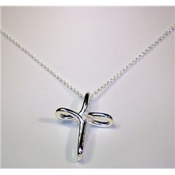 Lady's Fancy Cross Pendant Tiffany Silver Necklace