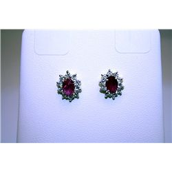 Fancy Style 14kt White Gold Pigeon Blood Ruby &amp; Diamond Earrings