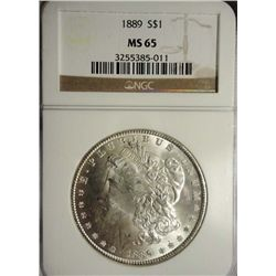 1889 MORGAN SILVER DOLLAR NGC MS-65