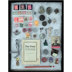 LARGE COLLECTION OF NAZI WWII MILITARIA IN CASE