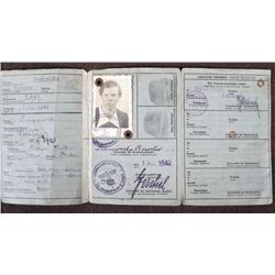 NAZI KENNKARTE ID PAPERS FOR AN OCCUPIED POLAND WOMAN