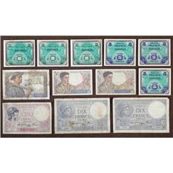 TWELVE WWII ERA FRENCH CURRENCY