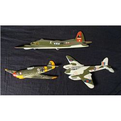 THREE HAND MADE & PAINTED WWII FIGHTER PLANES NAZI