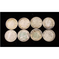 8 Diff Date Silver Canadian Dimes Five Cents 5 Cents