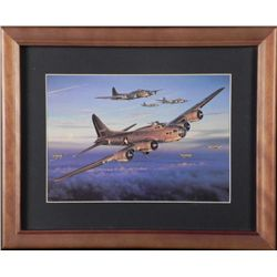 WWII FRAMED PRINT OF BOMBER & FIGHTER PLANES
