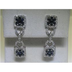 1.91CT Blue Sapphire & 1.09CT Diamonds 14K WG Earrings