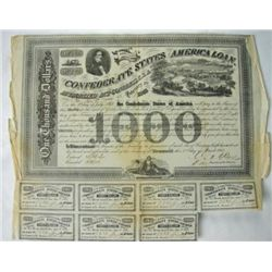 MWF912A Confederate $1000 war bond dated Feb. 20 1863