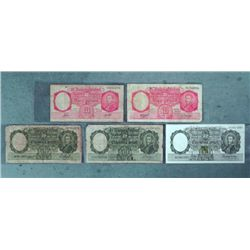 1 Lot (5) Old Argentina Bank Notes 1946-50 10, 50 Pesos