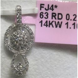 .35 Carat All Diamonds 14K White Gold Pendant