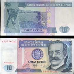 1987 Peru 10 Intis Crisp Uncirculated Note (CUR-05607)