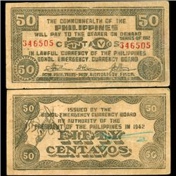 1942 WW2 Guerrilla Rebel Philippines 50c Note Bohol (CUR-07194)