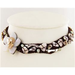 Crocheted Shell Choker Necklace (JEW-4316)