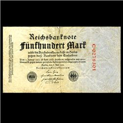 1922 Germany 500 Mark Note Better Grade RARE Variety (CUR-06653)