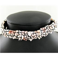 Crocheted Shell Choker Necklace (JEW-4313)