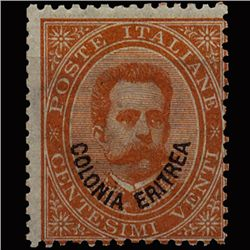 1892 Eritrea Italian Colony 20c Orange Mint Stamp (STM-1317)