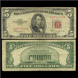 1953B $5 US Note Circulated Scarce (CUR-05990)
