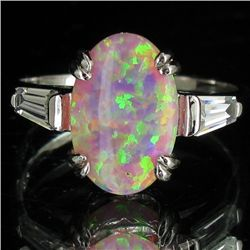 13.61twc Lab Opal/Diamond White Gold Vermeil/925 Ring (JEW-3983)