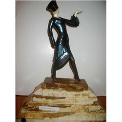 Signed Chiparus Bronze and Ivory - MIss Paris