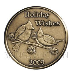 Christmas 2009 Bronze Round X-11 Holiday Wishes (with o
