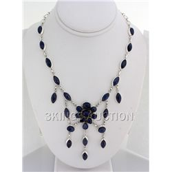 Gorgeous 367.00ctw Tanzanite Cabochons 0.925 Necklace