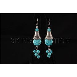 76.83ctw Dangling Turquoise Silver Earring
