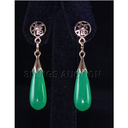 Natural 25.00ctw Green Jade Dangling Earring
