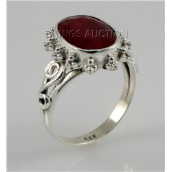 28.40ctw Sterling Silver OvalCut Ruby Beryl Ring