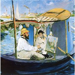 Manet Painting Monet In His Studio Boat - Manet - Limited Edition on Canvas