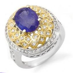 4.3ct Tanzanite & Diamond Ring 14K 2tone Gold