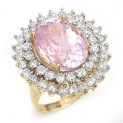 12.08ctw Kunzite & Diamond Ring 14K