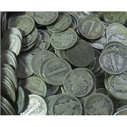 Lot of (500) Mercury Dimes - 90% Silver