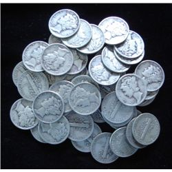 Lot of 50 Mercury Dimes