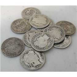 Lot of (10) Barber Dimes -