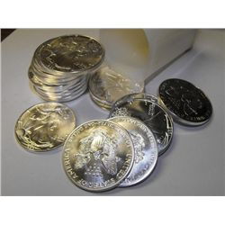 Lot of 20 Silver Eagles - Bullion