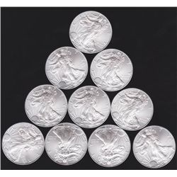 Lot of 10 Silver Eagles- Bullion