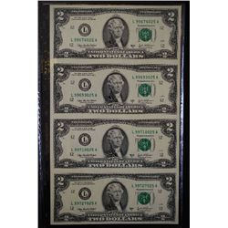 2003-A US Federal Reserve Note $2; San Francisco CA Reserve; Lot of 4 Uncut Bills; EST. $30-40