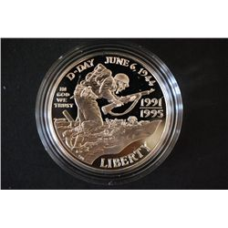 1991/1995-W US World War II 50th Anniversary Commerative $1 Proof; 90% Silver .76 Oz.; EST. $40-60