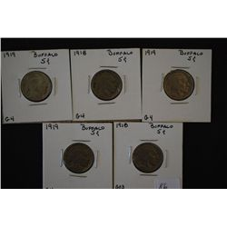 1918 Buffalo Nickel; G03, 1918 Buffalo Nickel; G4 & 1919 (3) Buffalo Nickel; G4; Lot of 5; EST. $15-