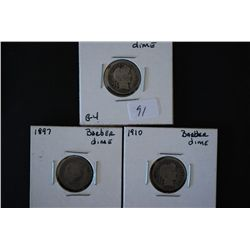 1897 Barber One Dime; AG3, 1906 Barber One Dime; G4 & 1910 Barber One Dime; G4; Lot of 3; EST. $8-15