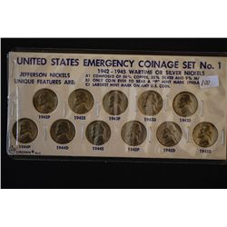 US Emergency Coinage Set #1; Jefferson Nickels 1942P-1945S; Lot of 11; EST. $15-25