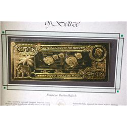 "Central Bank Of Belize $50 Foreign Bank Note; ""Foureye Butterflyfish""; The First Gold Bank Notes Of"